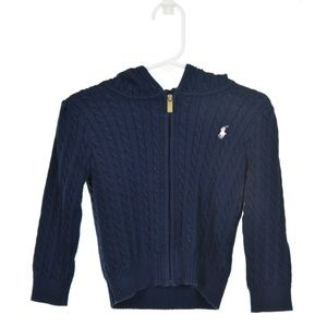 Ralph Lauren Navy Blue Cotton Zip-Up Sweater